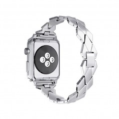 Apple Watch 1/2/3 38mm Horloge Band - Armband Rvs Roestvrij Staal Ruit Ontwerp - Inclusief Adapter - Zilver