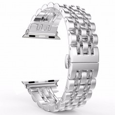Apple Watch 1/2/3 Horlogeband 38mm- 7 Kralen Fashion Strap Roestvrij Stalen Armband - Inclusief adapters - Zilver