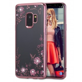 Samsung S9+ Plus Flower Bloemen Case Diamant Crystal TPU Hoesje  - Rose Goud