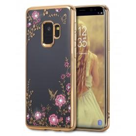 Samsung S9+ Plus Flower Bloemen Case Diamant Crystal TPU Hoesje  - Goud