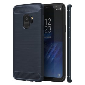 Samsung S9+ Plus Geborsteld Rugged TPU case - Ultimate Drop Proof Siliconen Case - Carbon fiber Look - Blauw