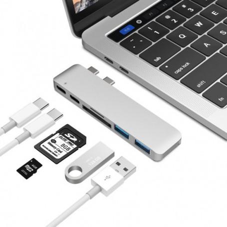 6 in 1 Aluminium Pro Hub Adapter (2x USB 3.0, 1x thunderbolt 3 , 1x USB-C, 2x USB 3.0, SD 1x Micro SD Kaartlezer)
