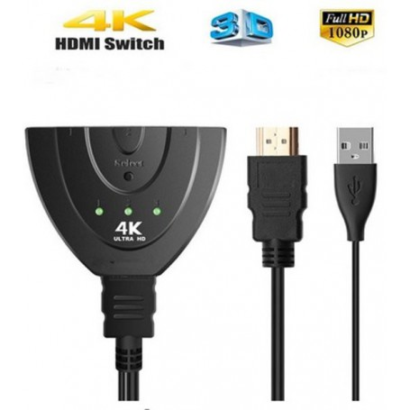 DrPhone - HDMI Kabel 3 Poort HDMI Switch Splitter 3D 2K 4K HD video switcher 1.4  HDMI Switcher 3 Input - 1 Output + HDMI Kabel