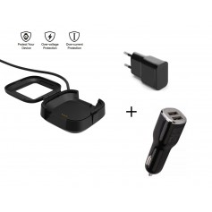 Travel Set Dock USB Docking Oplaadkabel Fitbit Versa - USB Lader + OLESIT Stekker 5V 2A Adapter + 10W Autolader