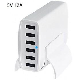 DrPhone - 6 Poorten 60W - 100-240V - QC 3.0 USB Smart IC oplader Thuislader Multi Lader