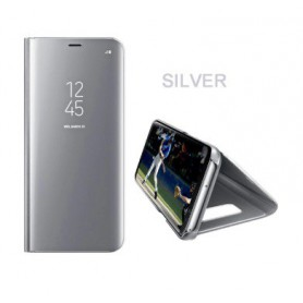 DrPhone Samsung S9 Plus Flipcover - Clear View Stand Cover - Mirror Case - Ultradunne case met Kickstand - Zilver