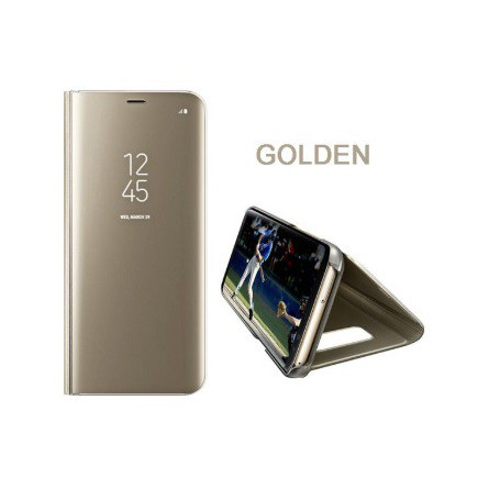 DrPhone Samsung S9 Plus Flipcover - Clear View Stand Cover - Mirror Case - Ultradunne case met Kickstand - Goud
