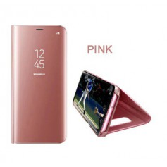DrPhone Samsung S9 Flipcover - Clear View Stand Cover - Mirror Case - Ultradunne case met Kickstand - RoseGoud
