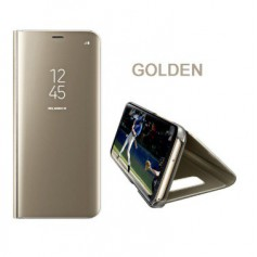 DrPhone Samsung S9 Flipcover - Clear View Stand Cover - Mirror Case - Ultradunne case met Kickstand - Goud
