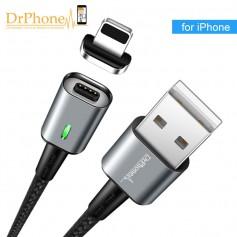 DrPhone iCON Series - Qualcomm 3.0 - Magnetische Lightning 8-Pin oplaadkabel + Datakabel Sterkste Magneet - Eclipse Zwart