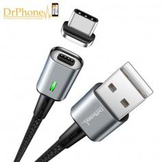 DrPhone iCON Series - Qualcomm 3.0 - Magnetische USB-C oplaadkabel + Datakabel Type-C  Sterkste Magneet - Eclipse Zwart