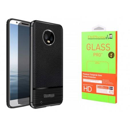 DrPhone Moto G6+(Plus) – Anti Schok Beschermhoes - Zwart + 2x glas
