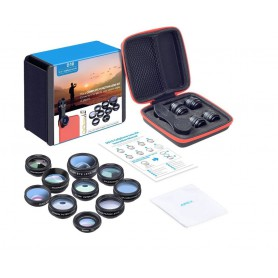 DrPhone APEX Series 10 in 1 HD Telefoon Camera Lens Kit - Fisheye - Groothoek- Macro - 2X Telescoop Lens- CPL lens + filters