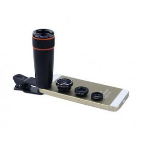 DrPhone APEX Lens Kit – Opzetlens 12X Telefoto – Groothoek & Macro – Fisheye lens