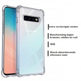 DrPhone Galaxy S10 TPU Hoesje - Siliconen Shock Bumper Case -Backcover met Verstevigde randen voor extra bescherming