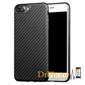 iPhone 7 / iPhone 8 - X-LEVEL 0.8mm Carbon fiber Textuur TPU Soft Case - Zwart
