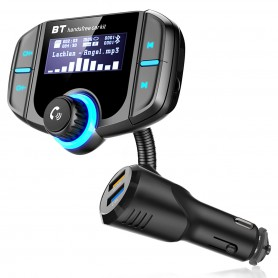 DrPhone BC8 Pro Draadloos Auto FM Transmitter + Handsfree Bluetooth Carkit + Dual USB Input - QC 3.0 Quick Charge - Qualcomm 3.0