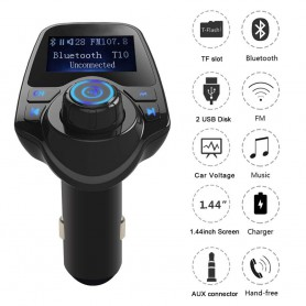 DrPhone BC7 5 in 1 Universele Draadloze Bluetooth Handsfree-carkit met FM transmitter/ AUX ingang/ Micro SD kaart /