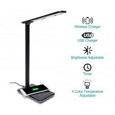 DrPhone LED Bureaulamp + Draadloze Mobiele Telefoonlader Smart LED Thuiskantoor Tafellamp met QI draadloze lader