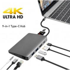 DrPhone 9-in-1 Hub Type C Dock - Mini Displayport HDMI 4K hub Adapter PD Ethernet Lan Gigabit Mic Jack
