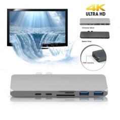 DrPhone 7 in 1 USB C Hub Dual Type C Dock -5K Output -40 Gbps Data Thunderbolt 3 - Dubbele USB 3.0 poorten- 4K 30 Hz
