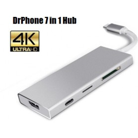 DrPhone 7 in 1 Multi Adapter Hub (3x USB 3.0, 1x SD Kaart, 1x Micro SD kaart, 1x HDMI 4k, 1X USB C Power Delivery 100W)