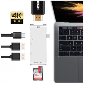 DrPhone 6-in-1 Type-C Hub - USB-C Thunderbolt3 (40 Gb) /USB-C(5 Gb) naar 4K HDMI, 2 USB 3.0-poorten/SD/Micro