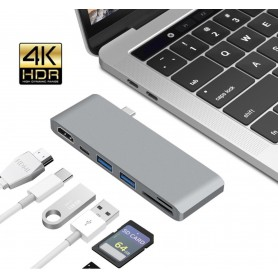 DrPhone 6 in 1 USB C Type-C Hub naar HDMI Adapter 4K + 2x USB 3.0 Poort + USB C PD (power delivery) + Micro SD / SD