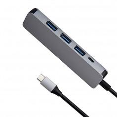 DrPhone 5in1 USB-C naar USB 3.0 + Micro-USB - HUB - Adapter - Aluminium - 4x USB 3.0 + 1x Micro USB - Grijs