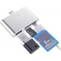 4 in 1 - DrPhone - Type C USB OTG Micro SD kaartlezer Adapter Converter - USB C Hub - (1x Micro USB, 1 USB, 1x Micro SD,