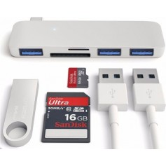 5 in 1 Aluminium DrPhone Combo Hub USB Type C 3x USB 3.0 / SD / Micro SD Adapter