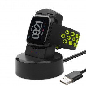 DrPhone Fitbit Versa oplader - oplaadstandaard - Dock-stationhouder - Charging Dock met 1,5 m USB-kabel- zwart