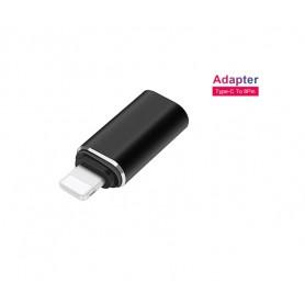 DrPhone Hero Series - USB-C naar Lightning Adapter – Type-C Female naar Lightning/8pin Male – OTG – Zwart