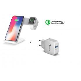 DrPhone 2 in 1 Pro Wireless Charge Dock - Draadloze Oplader - Draadloze Qi Lader - Qi Snellader - Zwart
