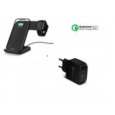 DrPhone 2 in 1 Pro Wireless Charge Dock - Draadloze Oplader - Geschikt voor Apple Watch 1 / 2 / 3 en iPhone X/XR - Zwart