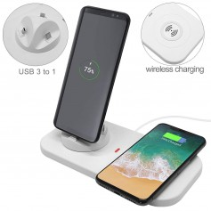 DrPhone 3 in 1 (Micro/Lightning/Type-C) Fast Charge Laadstation + Extra Dock Pad met QI Draadloos Snel Laadstation