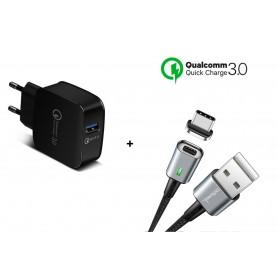 DrPhone 18W Snellader Adapter/Stekker - Thuislader + DrPhone iCON Premium TYPE-C Magnetisch USB-C Oplaadkabel - S9 / S10 Note 9