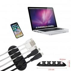 DrPhone Zelfklevende KabelClip - Universele Kabelhouder – Kabel Organisator – 5 ingangen voor het organiseren van uw