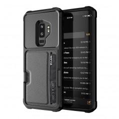 DrPhone Galaxy S9 TPU Kaart Armor Case - Lederen portemonnee kaarthouder Cover - Schokbestendig TPU Bumper met