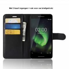 DrPhone Nokia 2.1 Flipcover - Bookcase - Luxe booktype PU Lederen Portemonnee Case – Wallet Case met Kickstand – Zwart
