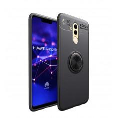 DrPhone Mate 20 Lite Magnetische Ring Case - 360 graden rotatie met metalen Ring & Kickstand - Zwart