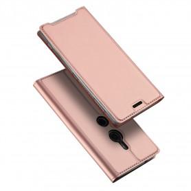 DrPhone Xperia XZ3 Magnetische Flip Cover - Bumper Kaart Case [Stand functie] PU Portemonnee Case - Book style - Rosegold