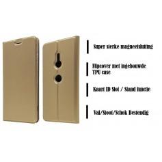 DrPhone Xperia XZ3 Magnetische Flip Cover – Bumper Kaart Case [Stand functie] PU Lederen Case met ingebouwde TPU case – Goud