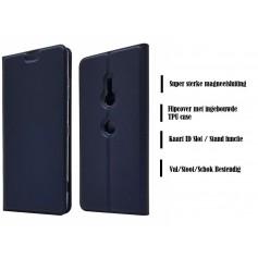 DrPhone Xperia XZ3 Magnetische Flip Cover – Bumper Kaart Case [Stand functie] PU Lederen Case met ingebouwde TPU case – Blauw