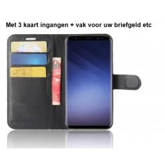 DrPhone Galaxy S9 Flipcover - Bookcase - Luxe booktype PU Lederen Portemonnee Case – Wallet Case met Kickstand – Zwart