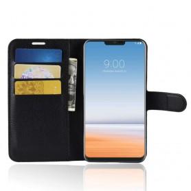 DrPhone LG G7 ThinQ Flipcover - Bookcase - Luxe booktype PU Lederen Portemonnee Case – Wallet Case met Kickstand – Zwart