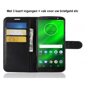 DrPhone MOTO G6 Flipcover - Bookcase - Luxe booktype PU Lederen Portemonnee Case – Wallet Case met Kickstand – Zwart
