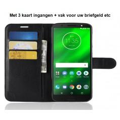 DrPhone MOTO G6+ (Plus) Flipcover - Bookcase - Luxe booktype PU Lederen Portemonnee Case – Wallet Case met Kickstand –