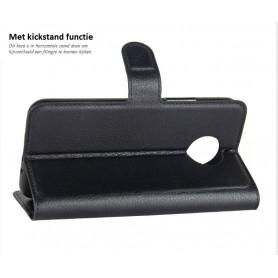 DrPhone Moto G5s Flipcover - Bookcase - Luxe booktype PU Lederen Portemonnee Case – Wallet Case met Kickstand – Zwart