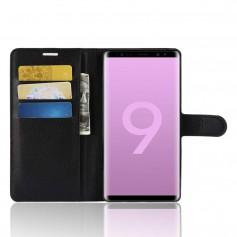 DrPhone Note 9 Flipcover - Bookcase - Luxe booktype PU Lederen Portemonnee Case – Wallet Case met Kickstand – Zwart